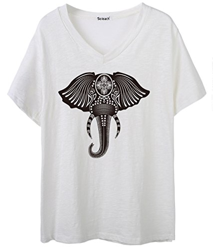 ... Casual Top Weiß. So'each Women's Animal Elephant Graphic Print V-Neck  Tee T-shirt Ladies