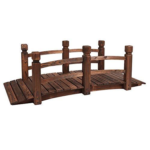 Wido 150cm Wooden Garden Pond Bridge Furniture Walkway Stream Outdoor Ornamental Water Borders