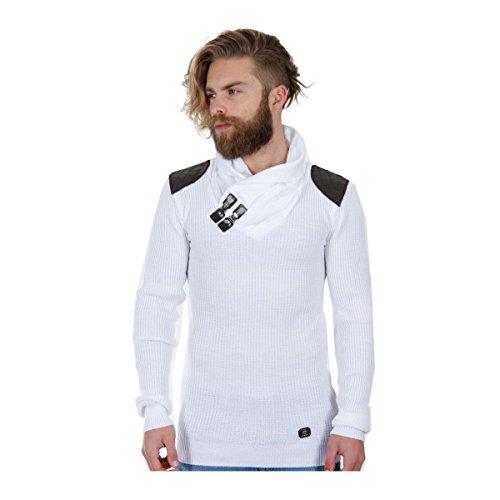 Redbridge Sweatshirt Herren Schalkragen Pullover Schulter-Patches RB-41500 Weiß