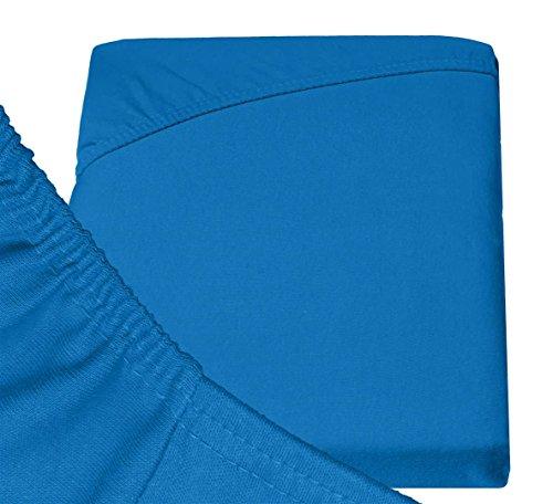 Double Jersey - Spannbettlaken 100% Baumwolle Jersey-Stretch bettlaken, Ultra Weich und Bügelfrei mit bis zu 30cm Stehghöhe, 160x200x30 Cobalt - 6