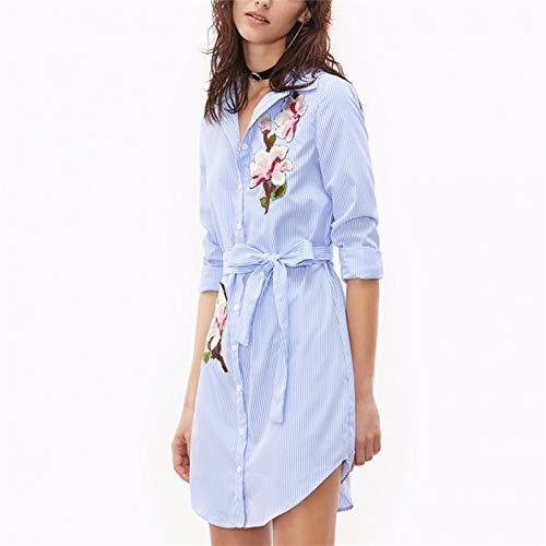 MEILINVREN Kleider, Für Frauen Drucken Gestreifte Langarm Shirt-Kleid Mit Blumenmuster Bestickt Frauen Drees Für Hübsche Mädchen