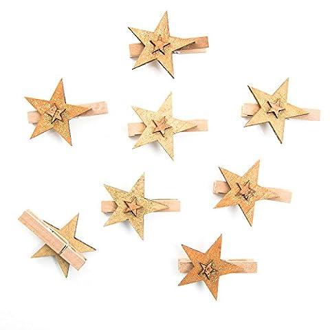 8 Stück Dekoklammern Zierklammern Wäsche-Klammern Weihnachtsklammern gold braun glitzernder HOLZ-STERN als Dekoration zu Weihnachten (6 cm) Clips zum Geschenke verzieren