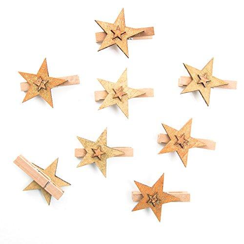Logbuch-Verlag 8 Dekoklammern Holz-Stern Weihnachten gold braun Klammer Mini-Wäscheklammer 6 cm Weihnachtsdeko Clip Geschenke weihnachtlich verzieren