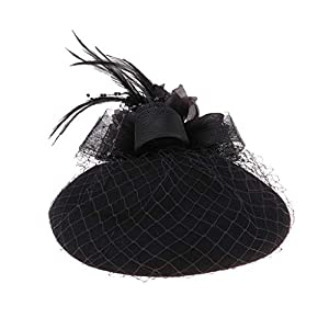 Baoblaze Damen Fascinator Hut Pillbox Hut Blumen Feder Britischer Bowler Mütze Kappe für Party Hochzeit Tea-Party