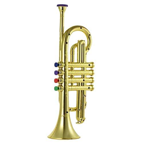 perfk Musikspielzeug Instrument Kunststoff Trompete Kinder Kinder Entwicklungsspielzeug - Gold