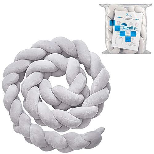 Luchild Bettumrandung Babybett Länge 2m Baby Nestchen Bettumrandung Weben Geflochtene Stoßfänger Dekoration für Krippe Kinderbett (Grau)