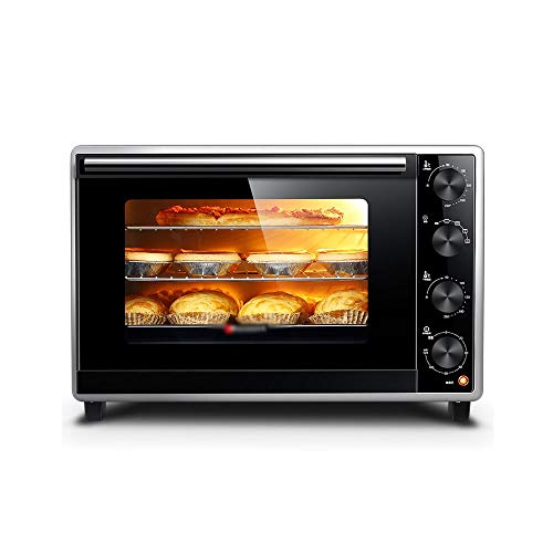 CL- Chun Li Elektrischer Minibackofen - 33L doppelt isolierte Türisolierung Haushalts Emaille Liner Kleiner Multifunktionsofen, 51x39,5x35cm Toaster (Color : Black)