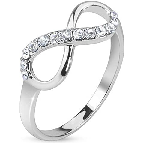 Anello Infinity infinito simbolo in acciaio inox sottile misure argento 49-60