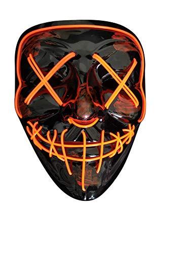 chwarz Schädel Vollmaske EL Draht Leuchten Für Halloween Kostüm Cosplay Party(X-RED) ()