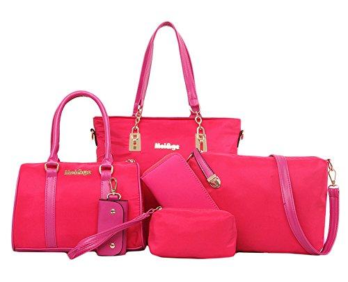 Scothen 3PCS Women's canvas Shoulder Bag/Handbag with Metal Decoration PU Leather Handbag/Shoulder Bag/Purse Frauen canvas Henkeltaschen Schultertaschen Tasche Handtasche Handtasche Rosa-Rot