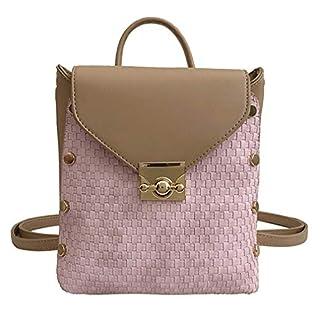 Milkate Women's Small Backpack Female Rivet Woven Shoulder Bag PINK