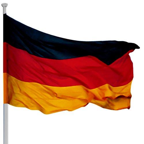 Fahnenmast 6,50m Deutschlandfahne Aluminium Mast Flagge Seilzug Bodenhülse Flaggenmast