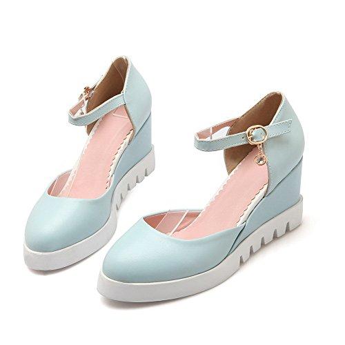 VogueZone009 Femme Rond Boucle Pu Cuir Couleur Unie à Talon Correct Chaussures Légeres Bleu