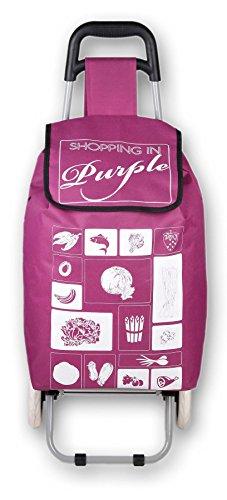Warenhandel König Einkaufstrolley Einkaufen Roller EInkaufsroller Helfer Tasche Shopper klappbar (Lila/Purple)