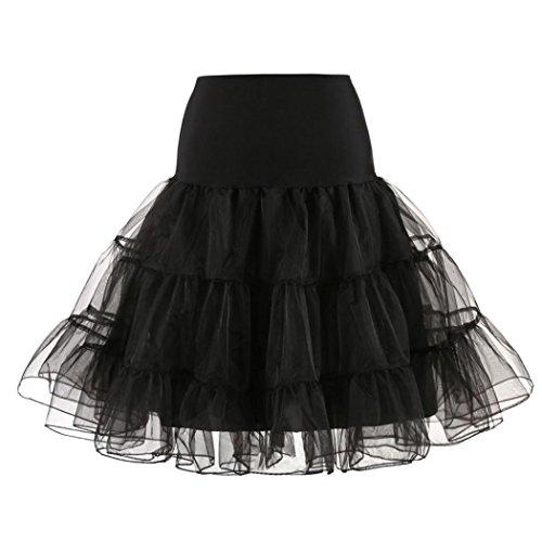 950er Rockabilly kleid Mini Tutu Retro Petticoat Unterrock Knielanger Rock Elastic Bund Tutu Prinzessin Tüll (M, Schwarz) (50er Jahre Mode-mädchen)