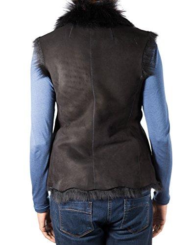 Gilet di stile della cascata della pelle di pecora delle donne / gilet (maniche senza maniche) Suede nera con pelle di pecora nera