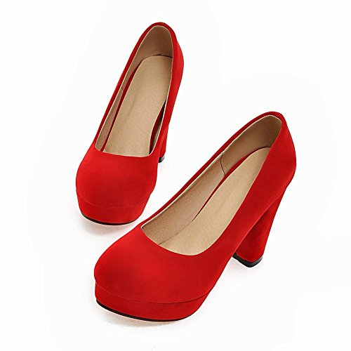 Mee Shoes Damen reizvoll runder toe Plateau Nubukleder Pumps Party-Schuhe Rot