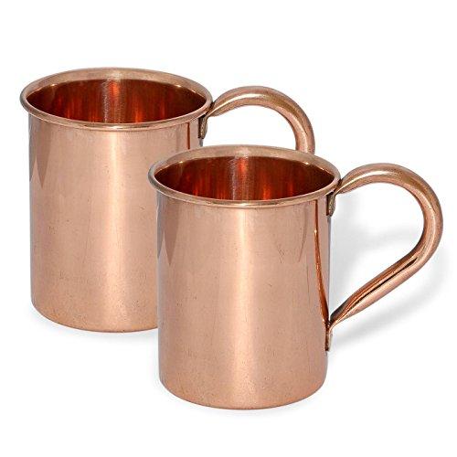 TeraShopee ® (2er-Set) Kupfer-Becher für Moscow Mules 15 Unzen - 100% reines Kupfer