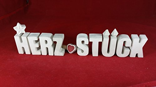 Beton, Steinguss Buchstaben 3 D Deko Schriftzug Namen HERZSTÜCK mit Stern und Herzklammer als Geschenk verpackt! Ein ausgefallenes Geschenk als Deko Schriftzug für einen schönen Platz im Home.