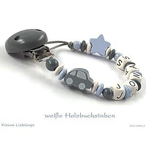 Schnullerkette mit Namen für Jungen 2-7 Buchstaben Auto Stern - grau pastellblau weiß Holz - geprägte Holzbuchstaben Baby Geschenk - Taufgeschenk - Handarbeit