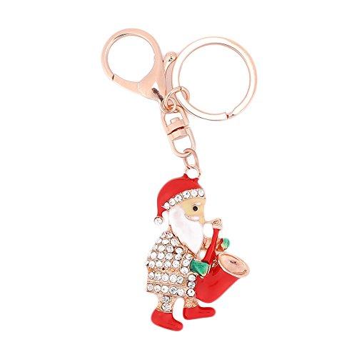Springdoit Strass Weihnachtsmann Anhänger Strass Auto Schlüsselanhänger Kette Schnalle Anhänger Weihnachten Auto Keychain Dekoration (Santa Claus Blasen Musikinstrument)