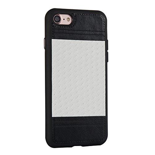 Case pour iPhone 7, Asnlove Soft Silicone TPU Housse Lignes Tressées Cover Souple Ultra Mince Étui Couleur Pure Tisser Style Coque Antichoc Cas pour iPhone 7 - Grise Blanc