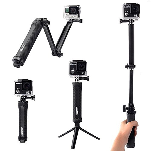 3-Way-Adjustable-Arm-Mibote-Selfie-Stick-with-Tripod-Stand-for-GoPro-Hero-5-BlackSession433XiaoYiAction-Cameras-with-14-Threaded-Adapter