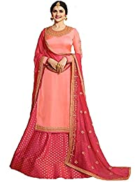 2a223cd99c Generic Women's Georgette Fabric Embroidered Sharara Suit (LNF120, Peach,  XXXL)
