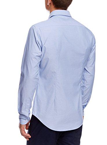 oodji Ultra Herren Langarm-Hemd Slim Fit Blau (7000O)