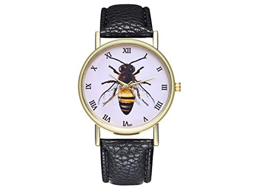 HOUHOUNNPO Modische Uhr Retro Biene Insekt Uhr Damen Herren Geburtstag Hochzeitsgeschenk (schwarz)