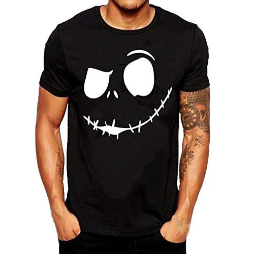 BaZhaHei Herren Mode Sommer böses Lächeln Gesicht gedruckt runder Kragen Bequeme T-Shirt Top Sport Kurzarm Bluse Vintage Rundhals Sommer T-Shirt Casual Weich Lose Oberteil
