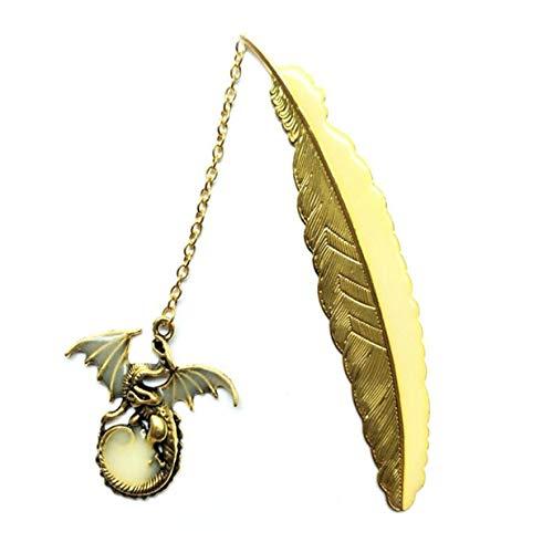EJY NetterLeuchtende Fliegender Drache Hängender Lesekennsatz Lesezeichen Büro-Zubehör(Golden) -