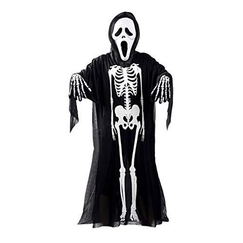 banbie8409 Schädel-Skeleton Geist Kostüm Erwachsene Kinder Halloween Karneval-Maskerade-Abendkleid-Kleidung + Schädel-Teufel-Maske + Handschuhe