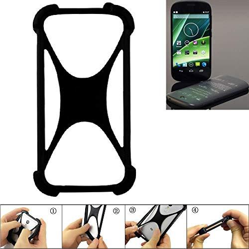 K-S-Trade Handyhülle Yota YotaPhone 2 Silikon Schutz Hülle Cover Case Bumper Silikoncase TPU Softcase Schutzhülle Smartphone Stoßschutz, schwarz (1x)
