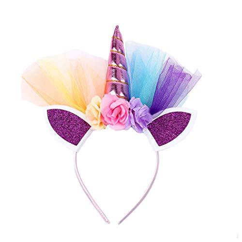 Blume Tutu Kostüm - dressfan Einhorn Stirnband Mädchen Blume Stirnband Kind Party Geburtstag Stirnband Kind Headwear Cosplay Kostüm Haarschmuck für Weihnachten