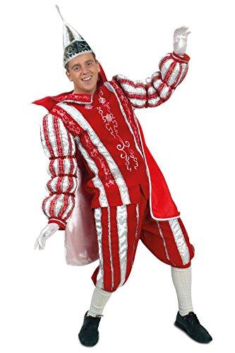Prinz Männer Kostüm - Prinzenkostüm Ornat rot weiß silber in den Größen 50 bis 60 ohne Prinzen Mütze (52)