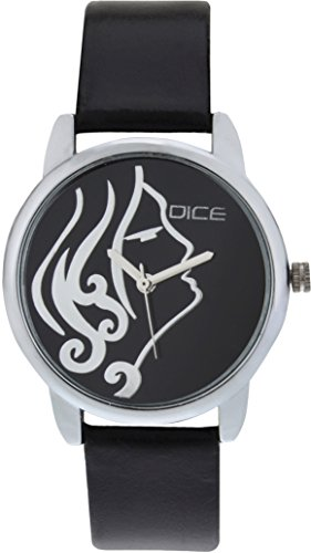 """DICE """"Grace 8803"""" Fashionable, Elegant, Contemporary, Tasteful and attractive Watch for women. Black Dial, Silver case and Anti allergic Black Leather Strap."""