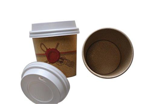Lot de 200 gobelets de 10 cl en papier kraft couleur havane pour café et boissons chaudes, avec couvercle à bec