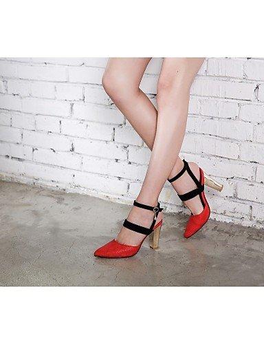 WSS 2016 Chaussures Femme-Mariage / Bureau & Travail / Habillé-Noir / Rouge / Blanc / Beige-Gros Talon-Talons-Talons-Similicuir red-us9 / eu40 / uk7 / cn41