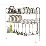 Two-tier Kitchen Rack 304 Stainless Steel Drain Hooks Dish Basin Storage Basket Floor-standing Multifunctional Storage Household MUMUJIN (Size : 59cm)