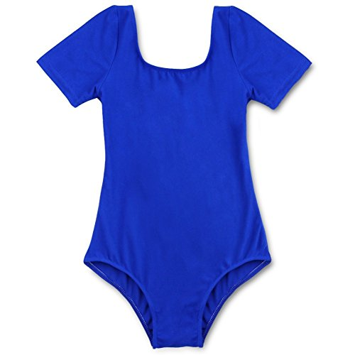 Tiaobug Mädchen Body Kinder Kurzarm Ballettanzug Turnanzug Trikot Gymnastikanzug Dunkel Blau (Tanzbekleidung Kinder)