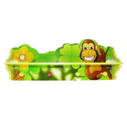 Homestyle4u 769, Kindergarderobe Dschungel Tiere, Kinderzimmer Garderobe mit 4 Haken, Holz Grün