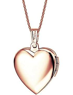 18K Rose vergoldet Herz Medaillon Anhänger Halskette 45,7cm