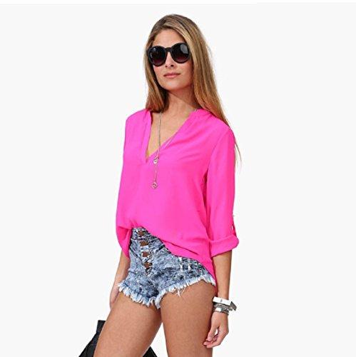 Sannysis Frauen-Freizeit-loses Chiffon- Langarm-Blusen-Hemd-Oberseiten Hot Pink