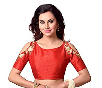 Studio Shringaar Women's Polyester Back Button Saree Blouse (Sii1861Rd_Red_38)