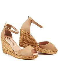 VISCATA Caprubi Elegant Comfort, Soft Suede, Ankle-Strap, Open Toe, Espadrilles with 3-inch Heel Made in Spain