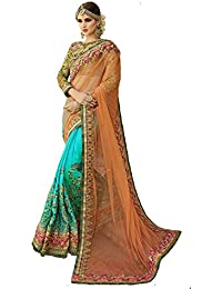 Audacious Women's Net And Georgette Embroidered Heavy Work Saree With Blouse Piece, Free Size(Yellow, M-01)