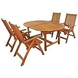 IND-70068-BASE5 5 Gartenmöbel Set Bali, Garten Garnitur Sitzgruppe aus Holz - 5-teilig - Tisch + 4 x Stuhl