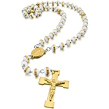 MunkiMix Acero Inoxidable Plástico Caucho Colgante Collar Virgen María Jesús Cristo Crucifijo Cruzar Cruz Rosario 26