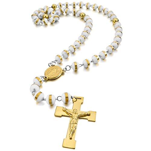 7f4e52c1055 MunkiMix Acero Inoxidable Plástico Caucho Colgante Collar Oro Dorado Tono  Blanco White Virgen María Jesús Cristo